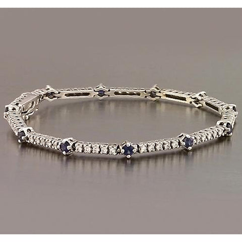 Tennis Bracelet Blue Sapphire & Diamond 8.4 Carats White Gold 14K New Gemstone Bracelet