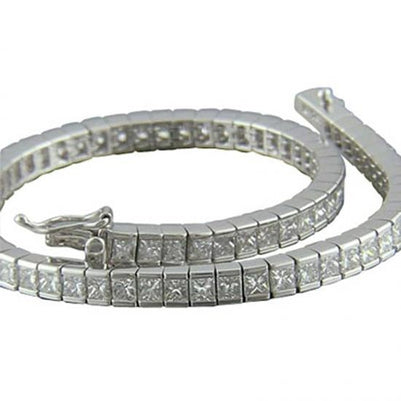 Tennis Bracelet Lady Gold  16 Ct Channel Set Princess Cut Diamond Tennis Bracelet