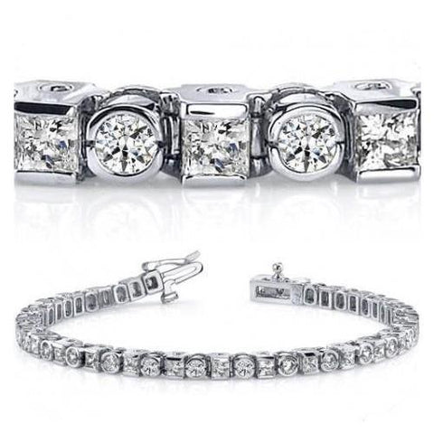 Tennis Bracelet Solid White Gold 14K 11.50 Ct Princess  Round Cut Diamond Tennis Bracelet
