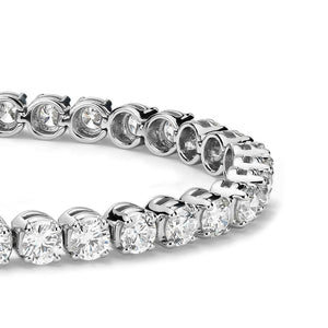 Tennis Bracelet Sparkling 10.50 Carats Round Cut Diamonds White Gold 14K Tennis Bracelet