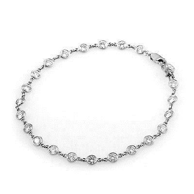 Tennis Bracelet White Gold 14K Round Diamond By The Yard 3 Ct Tennis Bracelet
