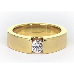 Tension Set Band Yellow Gold 14K Round Diamond 1 Carat Jewelry Men'S Ring Mens Ring