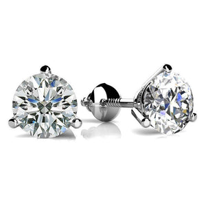 Three Prong 2 Carats Round Cut Diamonds Stud Earring White Gold 14K Stud Earrings
