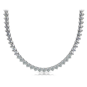 Three Prong Set Riviera Diamond Tennis Necklace 15 Carats White Gold Jewelry Necklace
