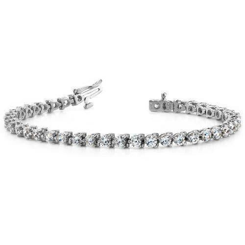 Three Round Diamond Tennis Bracelet White Gold Fine Jewelry 10 Ct. Tennis Bracelet