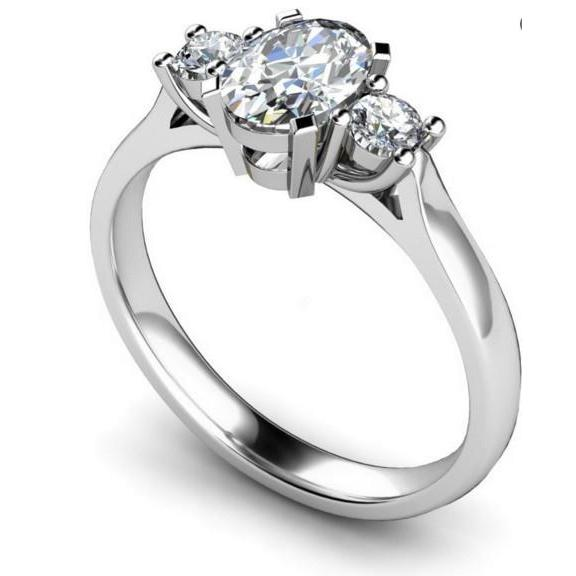 Three Stone 2.70Ct Sparkling Diamonds Anniversary Ring White Gold Three Stone Ring