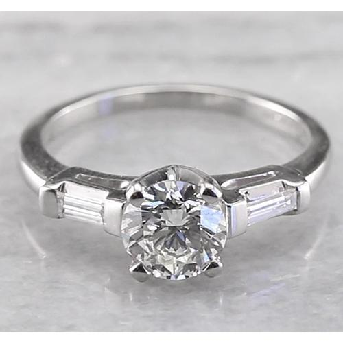 Three Stone Engagement Ring 1.60 Carats  Round & Baguettes Engagement Ring
