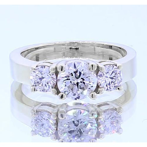 Three Stone Engagement Ring 4 Prong Setting White Gold 14K Vs1 F Jewelry 2 Carats Three Stone Ring