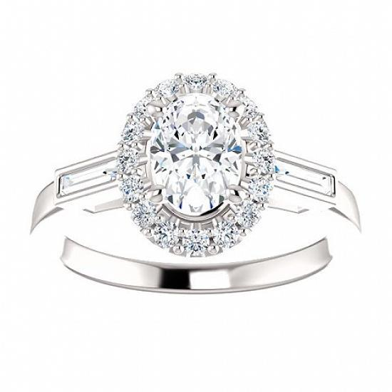 Three Stone Oval & Baguette Halo Diamond Engagement Ring Halo Ring