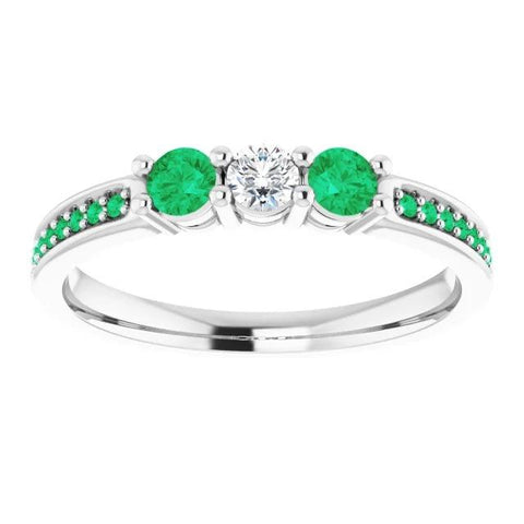 Three Stone Ring Round Diamond 1.07 Carats Columbian Green Emerald Jewelry New Gemstone Ring