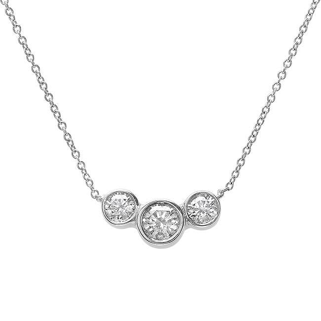 Three Stone Round Diamond Necklace Pendant White Gold 3.5 Carats Pendant