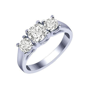 Three Stone Round Diamond Wedding Ring White Gold 14K 1.80 Carats Three Stone Ring