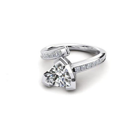 Trillion And Princess Cut 2.40 Ct Diamonds Engagement Ring Engagement Ring