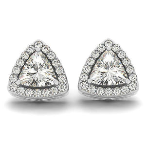 Trillion And Round Cut Gorgeous 4.70 Ct Diamonds Studs Halo Earring Halo Stud Earrings