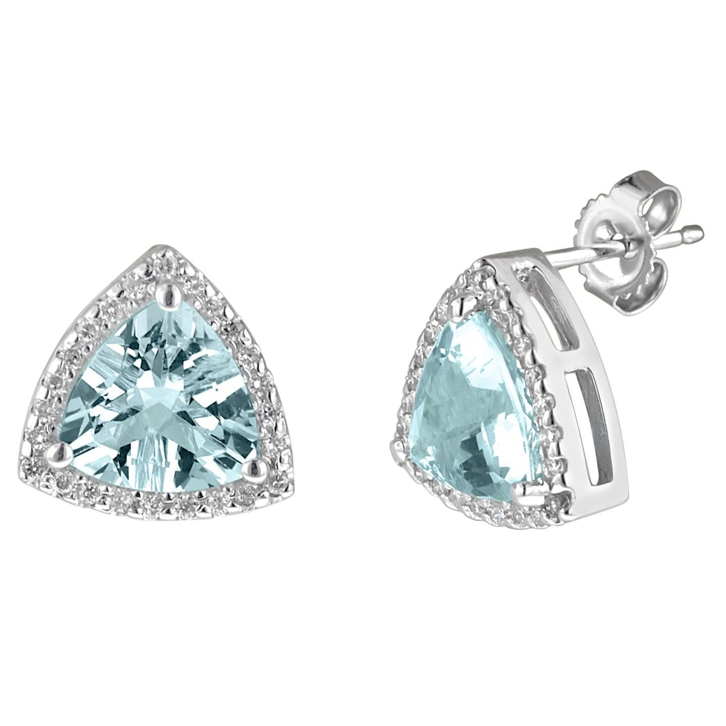 Trillion Cut Aquamarine With Round Diamonds 6.20 Ct. Studs Earring Halo Cluster Gemstone Earring