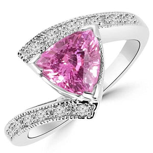 Trillion Cut Pink Sapphire Diamond Ring White Gold Jewelry 1.25 Ct Gemstone Ring