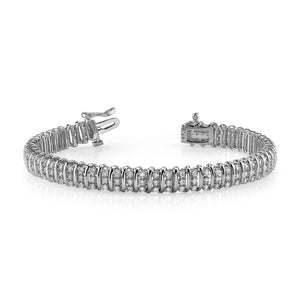 Triple Illusion 12.50 Carats Round Diamonds Bracelet White Gold 14K Tennis Bracelet