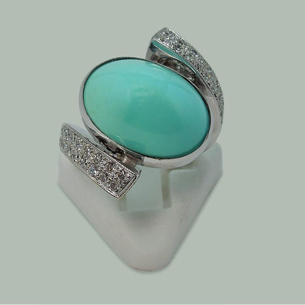 Turquoise And Diamonds White Gold 18K Engagement Ring Men Women Gemstone Ring