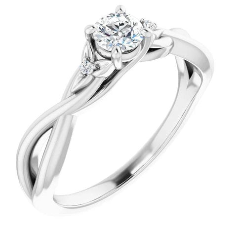 Twisted Shank 1.40 Carats Diamond Ring White Gold 14K Engagement Ring