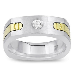 Two Tone 14K 0.4 Carat Round Diamond Men Ring Solitaire Mens Ring