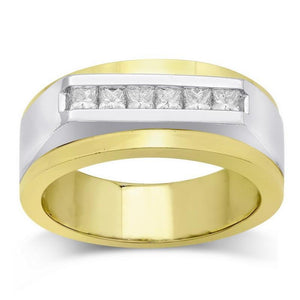 Two Tone Gold 14K Men Ring Band Round Diamond 0.71 Carats Band