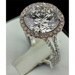 Two Tone Gold Round Halo Diamond Ring Solitaire Accents 9.50 Carats Halo Ring