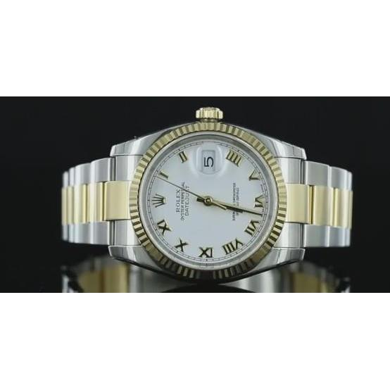Two Tone Oyster Bracelet Rolex Datejust 36Mm Mens Watch White Dial Rolex