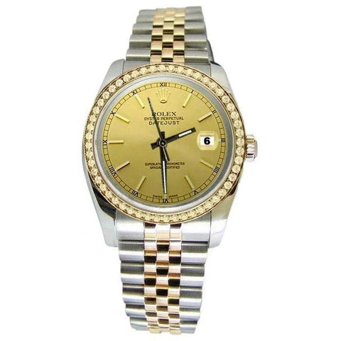 Very Fine Men Rolex Datejust Watch Stick Dial Jubilee Two Tone Rolex