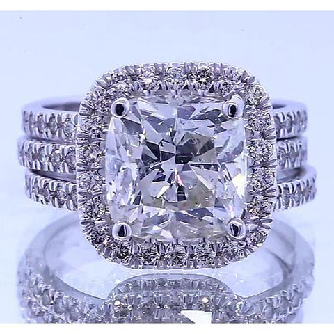 Vintage Type Anniversary Ring Cushion Cut Diamond 4.50 Carats Halo Ring