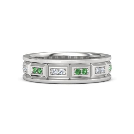 Vintage Type Band Diamonds Green Emerald F Vs1 Vvs1 White Gold 14K Mens Ring