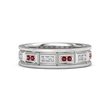 Vintage Type Band Diamonds Rubies F Vs1 Vvs1 White Gold 14K Mens Ring