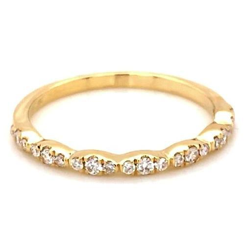 Wedding Anniversary Band 0.50 Carats Round Diamond Yellow Gold 14K Band