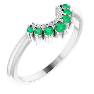 Wedding Band 1 Carat Columbian Emerald White Gold 14 K Jewelry Band