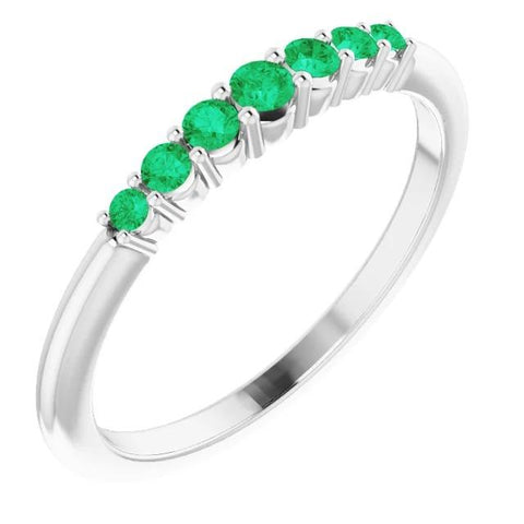 Wedding Band 1 Carat Round Columbian Green Emeralds Women Jewelry Band