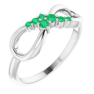 Wedding Band Columbian Green Emerald 0.39 Carats Infinity Prong Setting Band