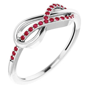 Wedding Infinity Band Round Rubies 0.50 Carats Band