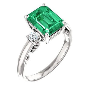 Wg14K Prong Set 3 Stone 15.50 Ct. Emerald With Diamonds Ring Ring