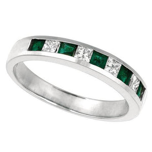 White Gold 0.58 Carat Emerald And Princess Cut Diamond Ring Band New Band