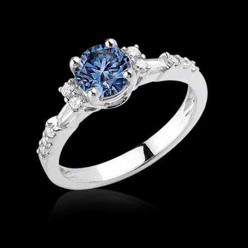 White Gold 1 Carat Blue White Diamonds Engagement Ring Gemstone Ring