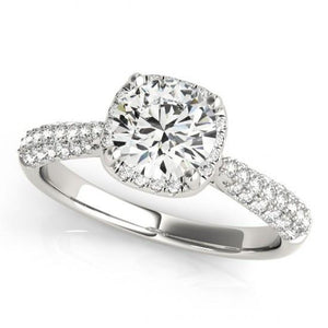 White Gold 14K 1.50 Carat Halo Round Diamonds Solitaire With Accents Ring New Halo Ring