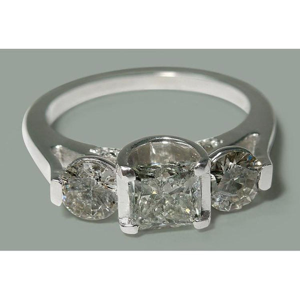 White Gold 14K 1.95 Carats Princess & Round Diamond Three Stone Style Ring Three Stone Ring