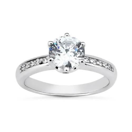 White Gold 14K 2.00 Carat Round Brilliant Diamonds Solitaire With Accents Ring Solitaire Ring with Accents