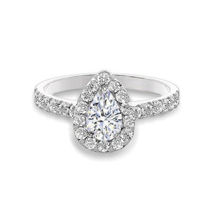 White Gold 14K 2.00 Ct. Pear Cut Diamonds Halo Ring Halo Ring