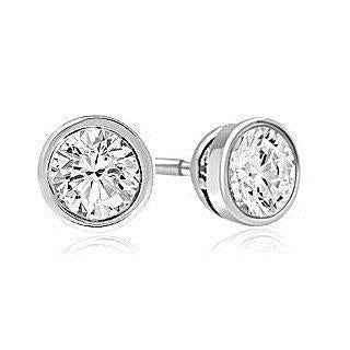 White Gold 14K 3 Carats Bezel Setting Round Diamond Stud Earring Stud Earrings