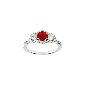 White Gold 14K 3.51 Carats Round Red Rubys Three Stone Style Ring Gemstone Ring