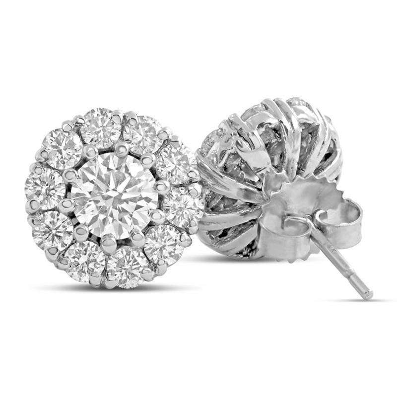 White Gold 14K 5.00 Carats Round Cut Diamonds Ladies Studs Earrings Halo Halo Stud Earrings
