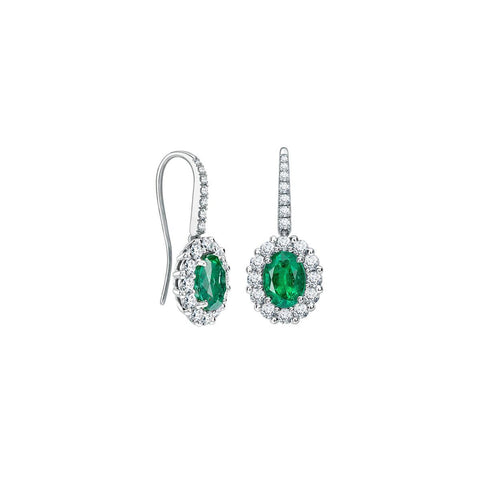 White Gold 14K 5.50 Carats Emerald With Diamonds Dangle Earrings Gemstone Earring