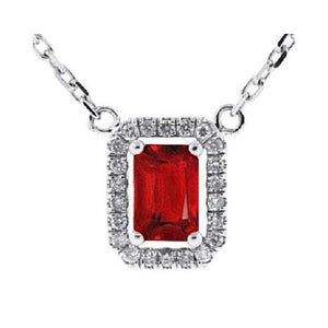 White Gold 14K 5.50 Carats Prong Setting Red Ruby With Diamonds Pendant Necklace Gemstone Pendant