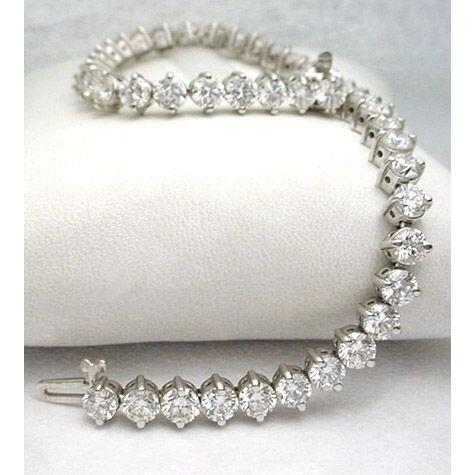 White Gold 14K 6 Ct Prong Set Round Diamond Tennis Bracelet Solid Tennis Bracelet