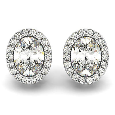 White Gold 14K 7.10 Ct Round Brilliant Cut Diamonds Pave Halo Studs Earring New Studs- Halo